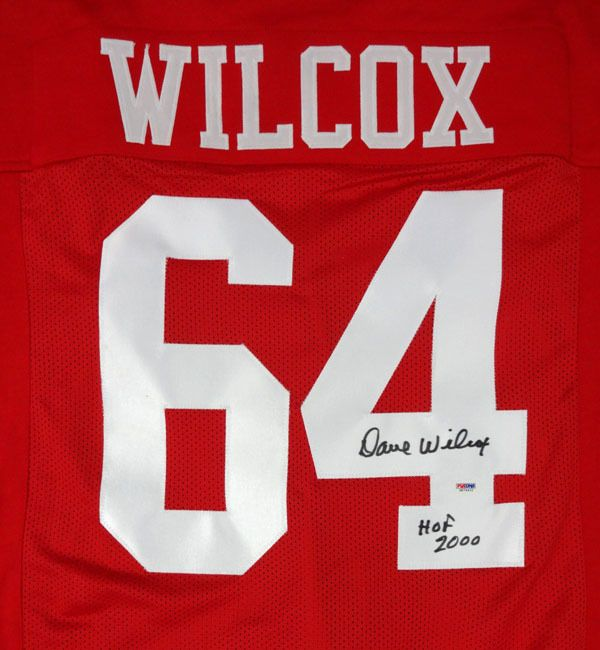 "Dave Wilcox Autographed San Francisco 49ers Red Jersey ""HOF 2000"" PSA/DNA"