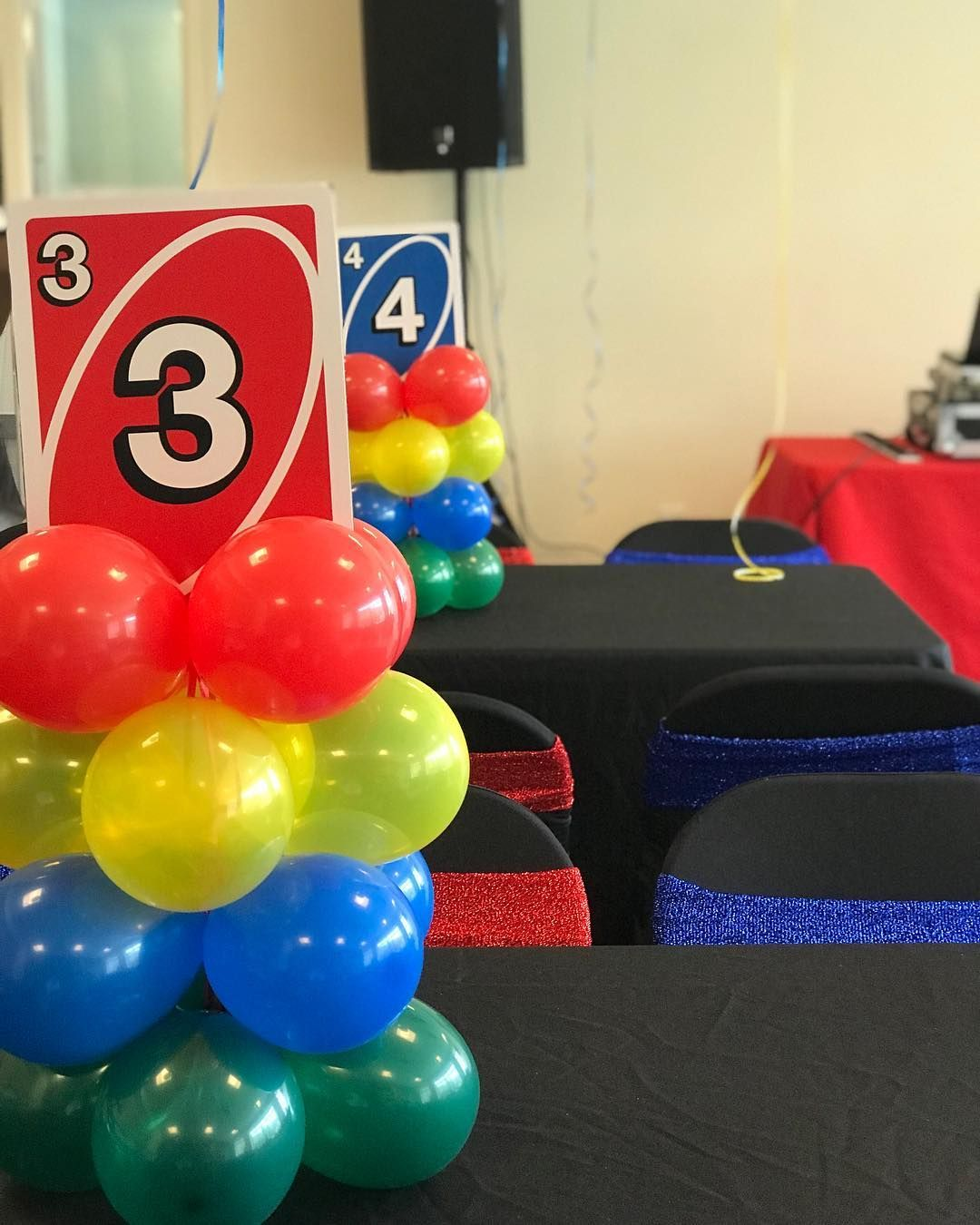 Hand Made Giant Uno Card Toppers X Mini Balloon Columns