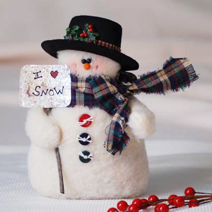 Snowman with Top Hat & Snow Shovel