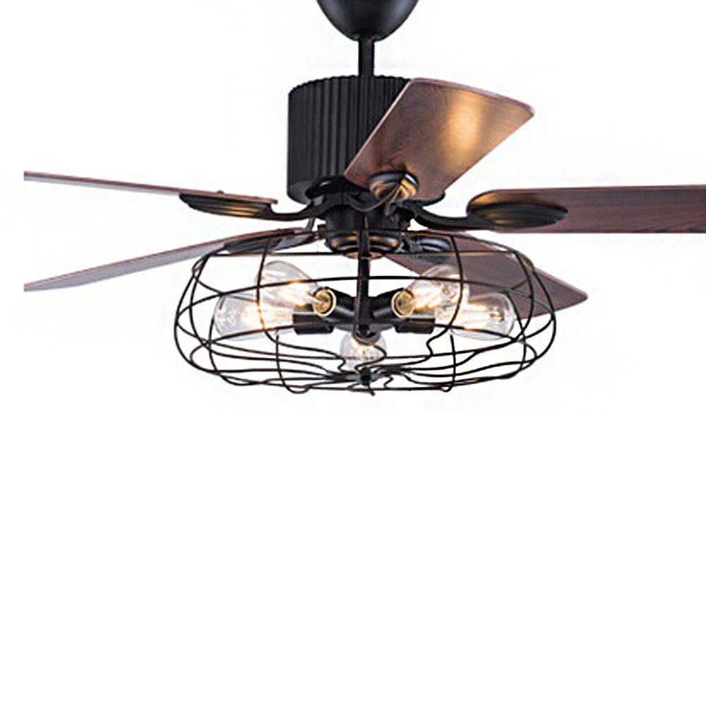 Industrial 52 Wrought Iron Style Fan Semi Flush Ceiling Light