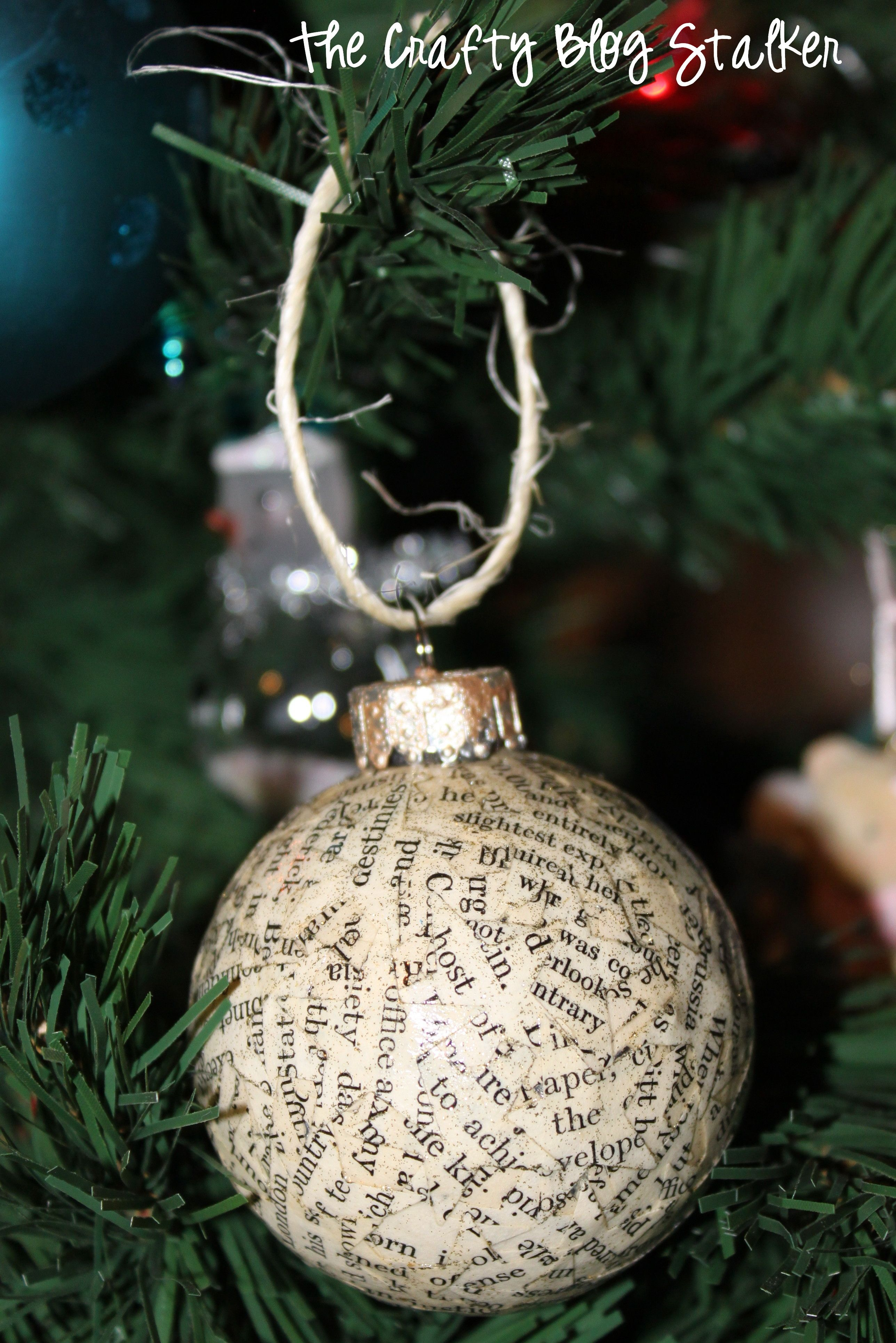 how to make handmade book print christmas ornaments
