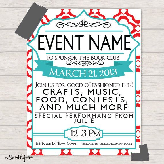 Red And Turquoise Event Flyer Personalized By Snicklefritzdesignco