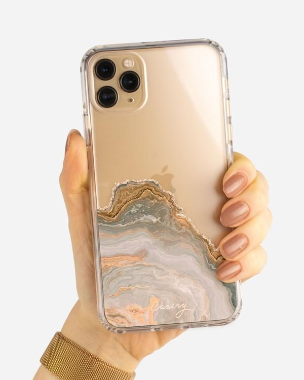 White & Gold Agate iPhone Case
