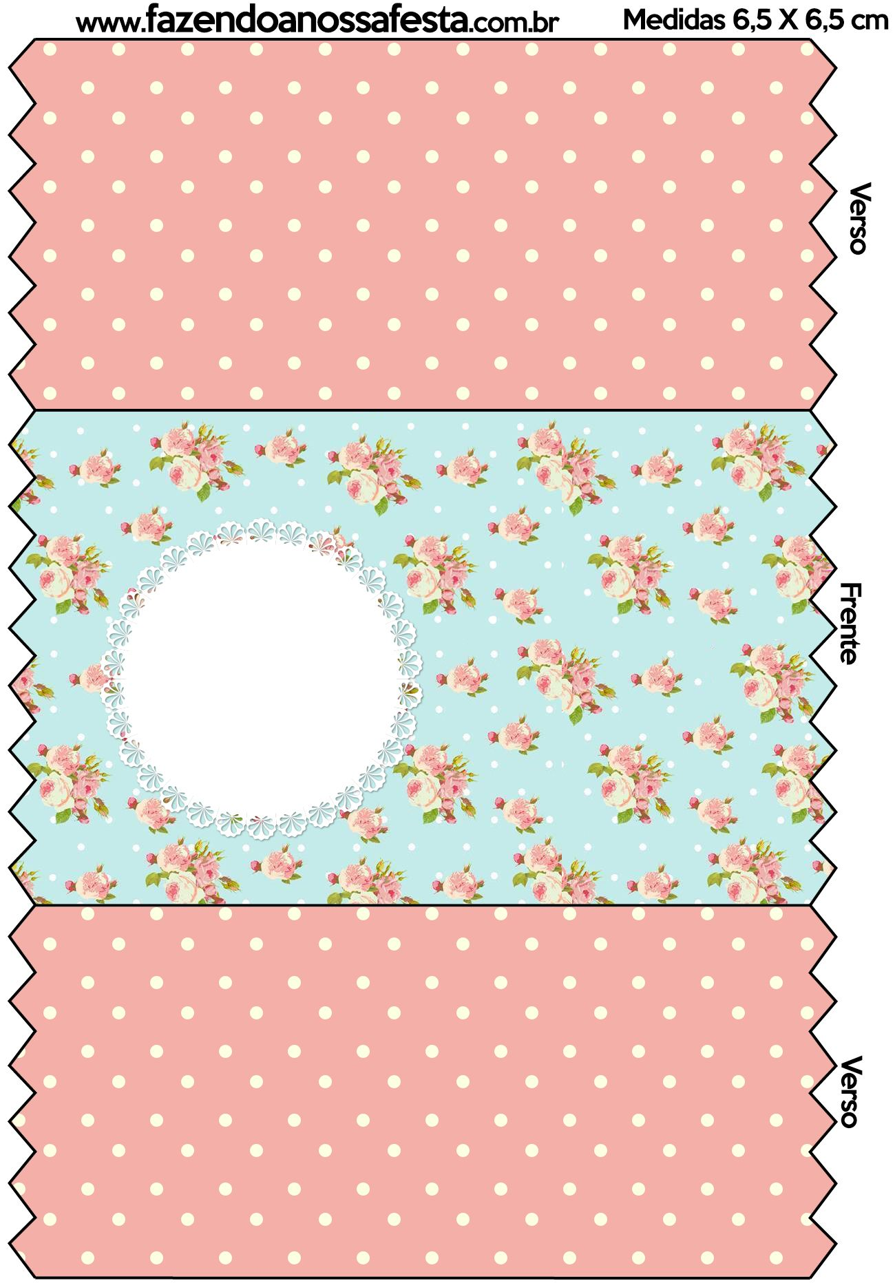 Kit Completo Floral Vintage Azul E Rosa Com Molduras Para Convites