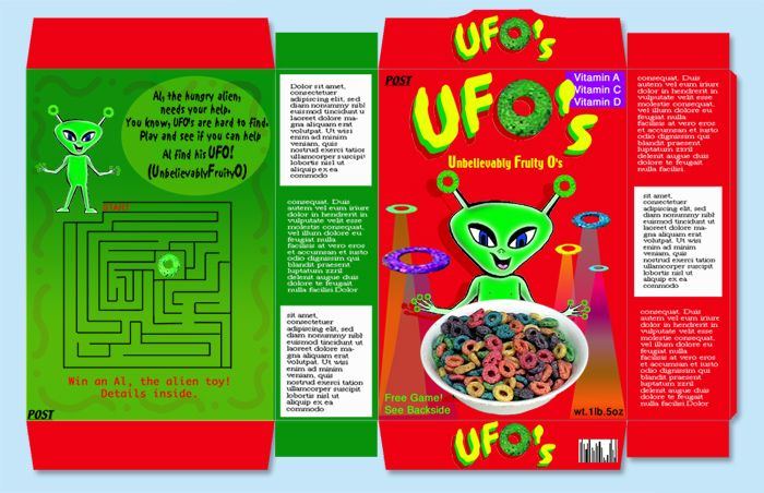 Cereal Box Design Project Ufo\'s cereal | High School Graphic ...