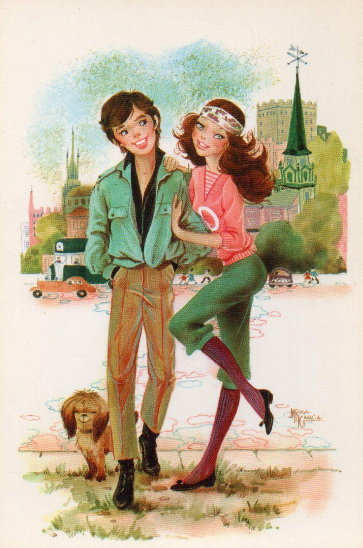Vintage Ansichtskarte 70's Happy Couple und von CuteEyeCatchers