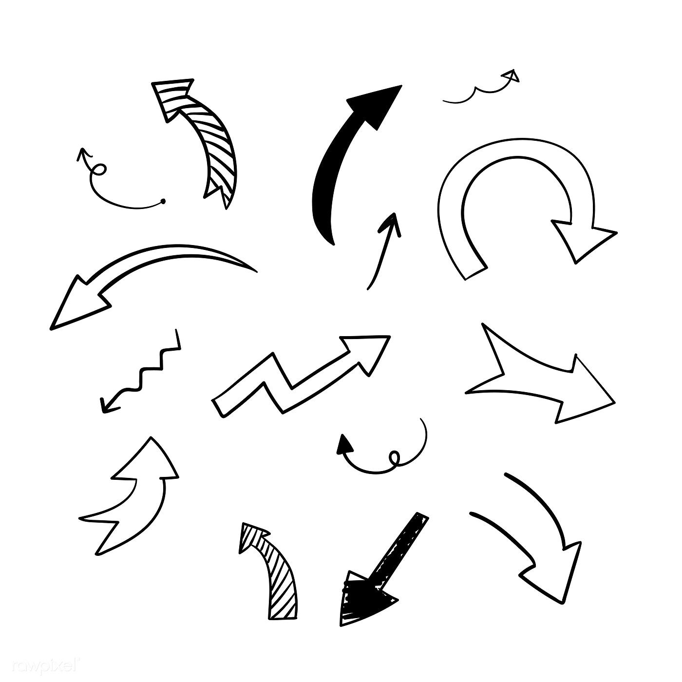 Hand Drawn Doodle Arrows Vector Set Free Image By Rawpixel Com Filmful How To Draw Hands Creative Mind Map Hand Drawn Arrows