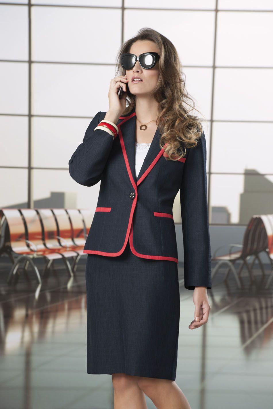 Uniformes Ejecutivos Vanity Estilo 44008526 Color Red Navy Navy Red Http Uniformes Vanity Com Mx Single Php Id 201432 Suits For Women Outfits Fashion