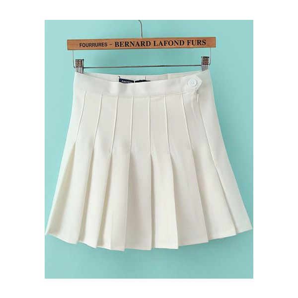 SheIn(sheinside) White High Waist Pleated Skirt (27 CAD) ❤ liked ...