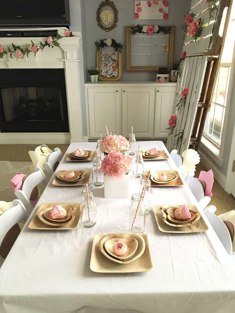 Gorgeous table settings at a boho floral first birthday party! See more party ideas at CatchMyParty.com!