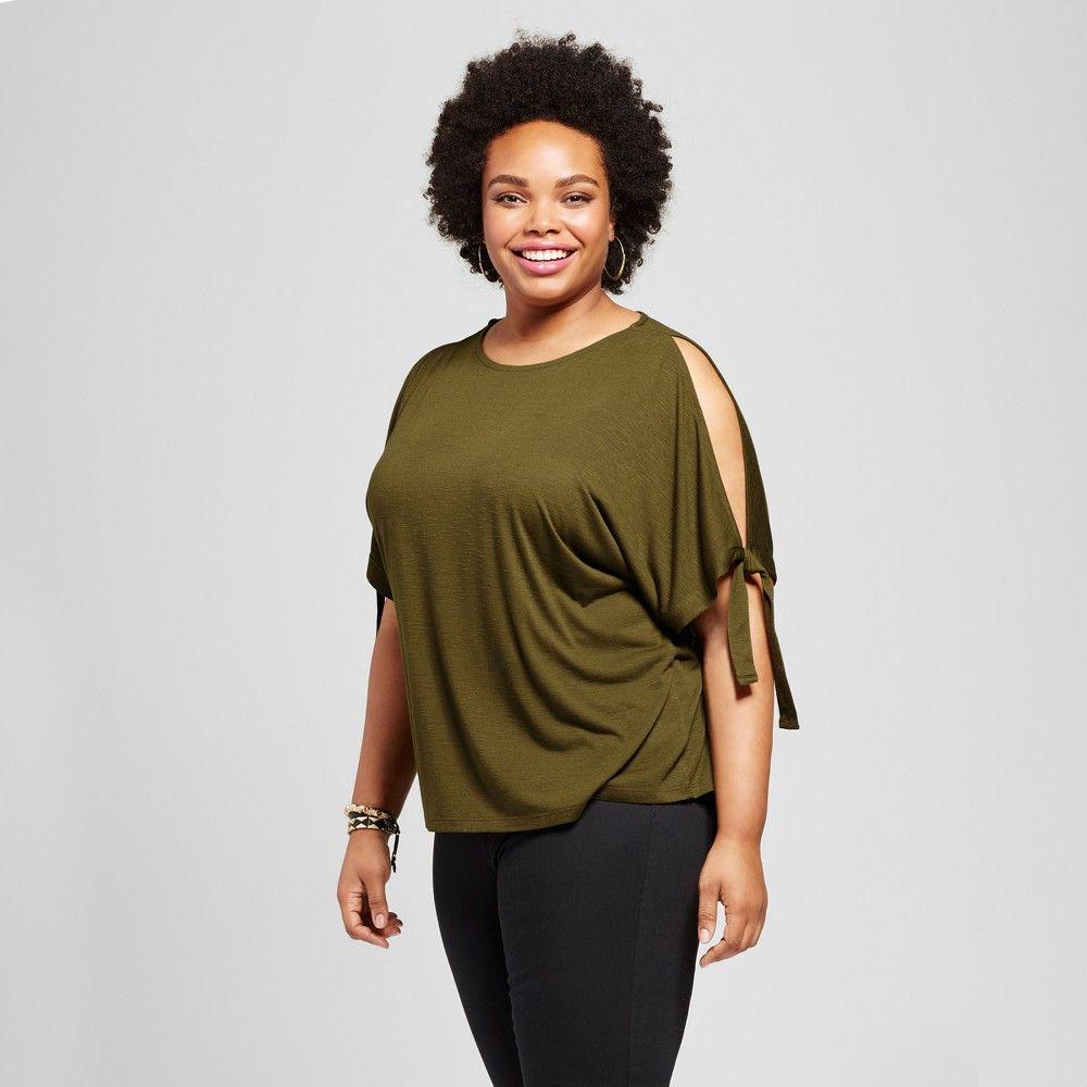 Womenus plus size open shoulder sleeve tshirt ava u viv olive