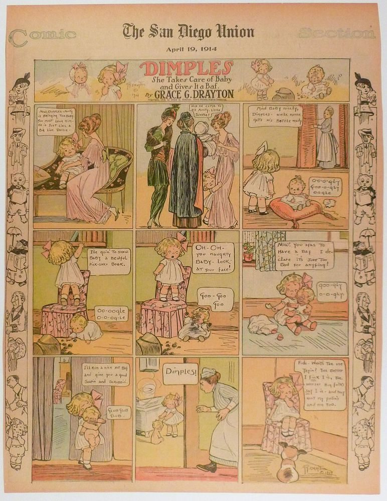 DIMPLES and BABY color COMIC PAGE 1914 Mother MAID Coal Bucket BATH ...