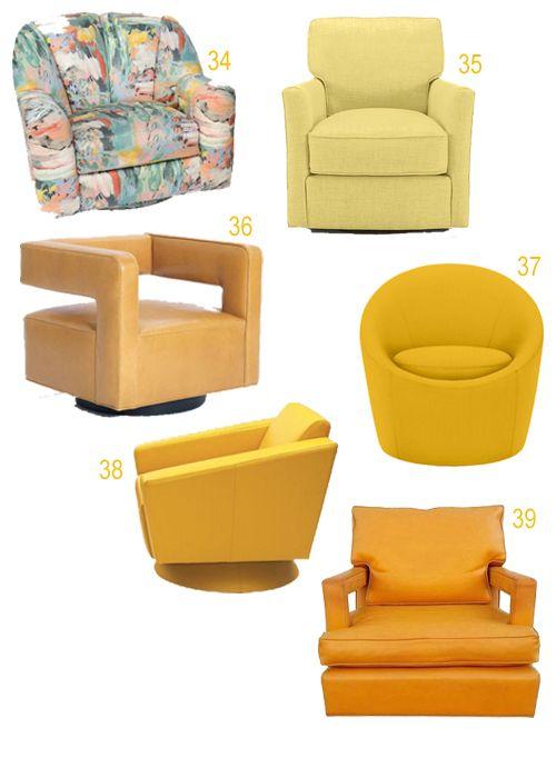 Modern Yellow Orange Upholstered Swivel Chairs Upholstered Swivel Chairs Outdoor Lounge Chair Cushions Chair