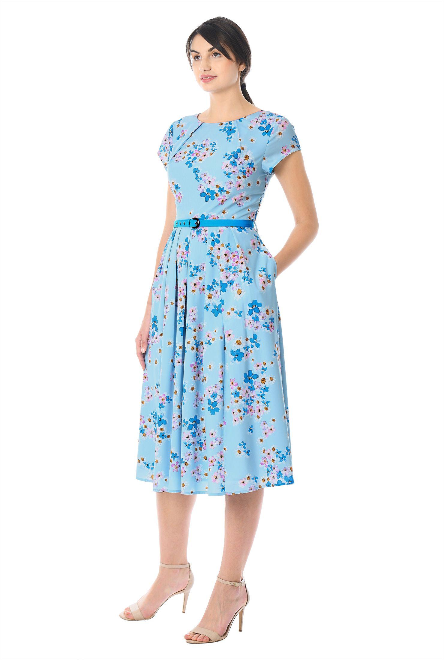 Cap Sleeves Floral Print Dresses Lightweight Dresses Machine Wash