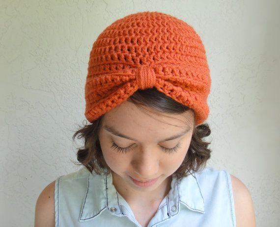 Koralle Orange Turban Gestricken Womens von vintagelookcreations