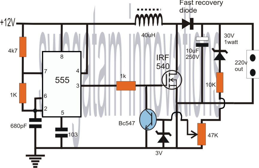 How to Convert 12V DC to 220V AC Using IC555 Boost