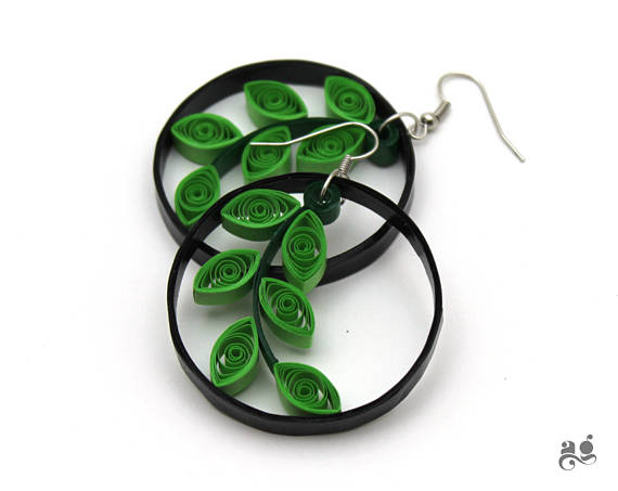 Leaves earrings paper quilling green statement jewelry st