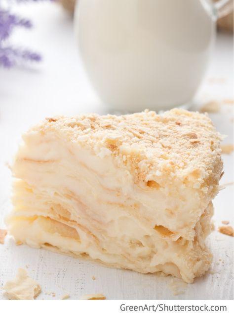 Napoleon - Blätterteigtorte mit Buttercreme Tort Napoleon - Торт Наполеон - Russische Rezepte #recipeforpuffpastry