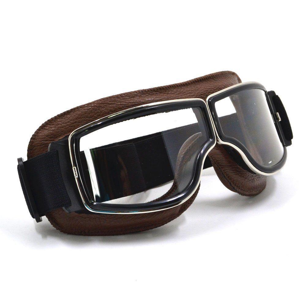 Crg fashion classic goggles dark brown frame clear lens