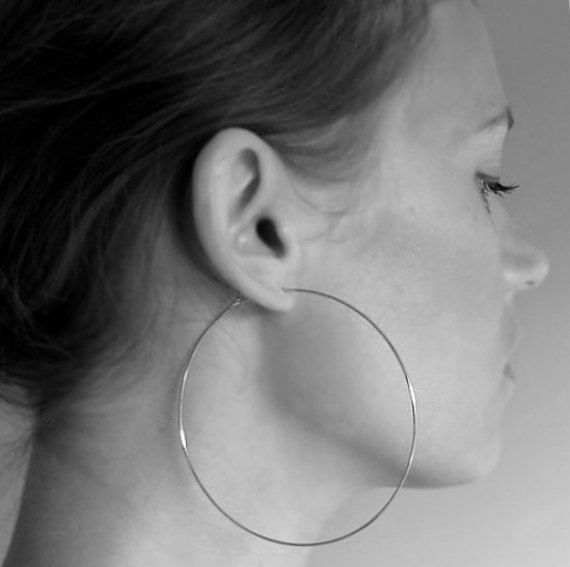 bc85ba87d101de Silver Hoop Earrings 3 inch Extra Large Thin by NadinArtDesign, $45.00