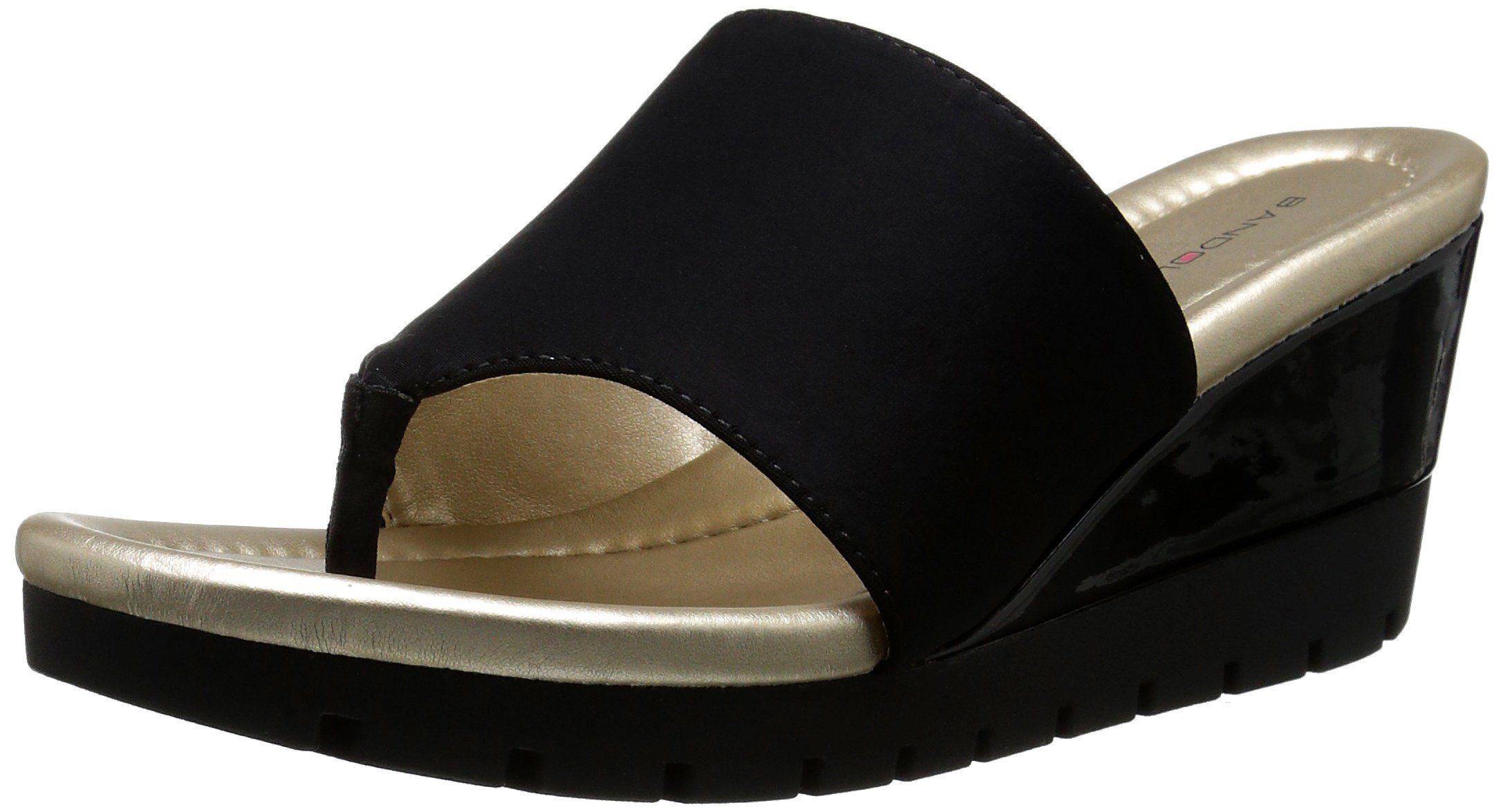 Bandolino Women's Meadoe Wedge Sandal, Black, 10 M US. Cushioned insole.