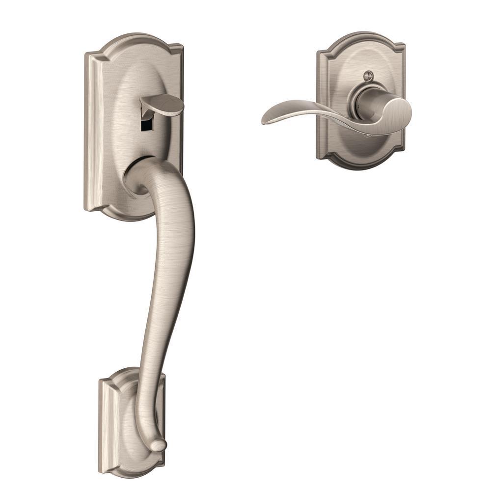 Schlage Camelot Satin Nickel Entry Door Handle With Accent Door