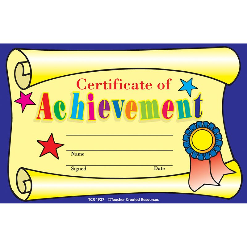 Certificate Of Achievement Printed on sturdy, heavy card stock - certificate of achievement for kids