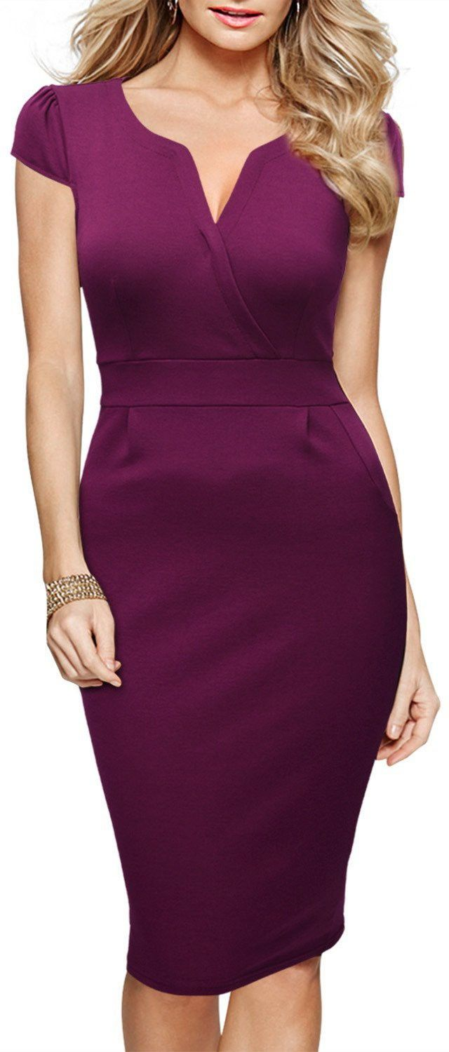 Miusol Women\'s Official V-Neck Retro Business Bodycon Pencil Dress ...