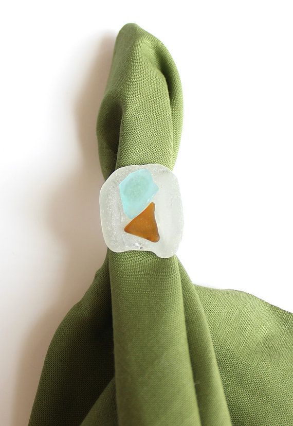 Seaglass Ring- Large- White Brown and Light Blue Beach Glass by WorldPeac, $9.00