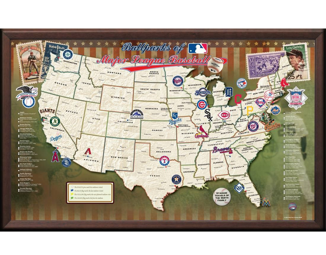 Ballparks Of Major League Baseball Map Baseball Stadium Map Major League Baseball Stadiums Baseball Posters