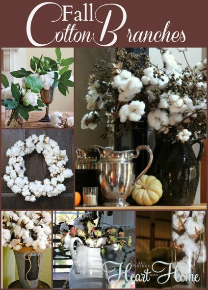 Fall Decorating With Natural Elements Cotton Branches All Things Heart And Home Cotton Decor Fall Classroom Decorations Fall Deco