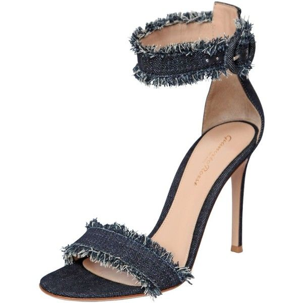 Gianvito Rossi Women 100mm Cotton Denim Sandals 805 Liked On Polyvore Featuring Shoes Sandals Gianvito Fashion Shoes Sandals Sandals Heels Denim Sandals