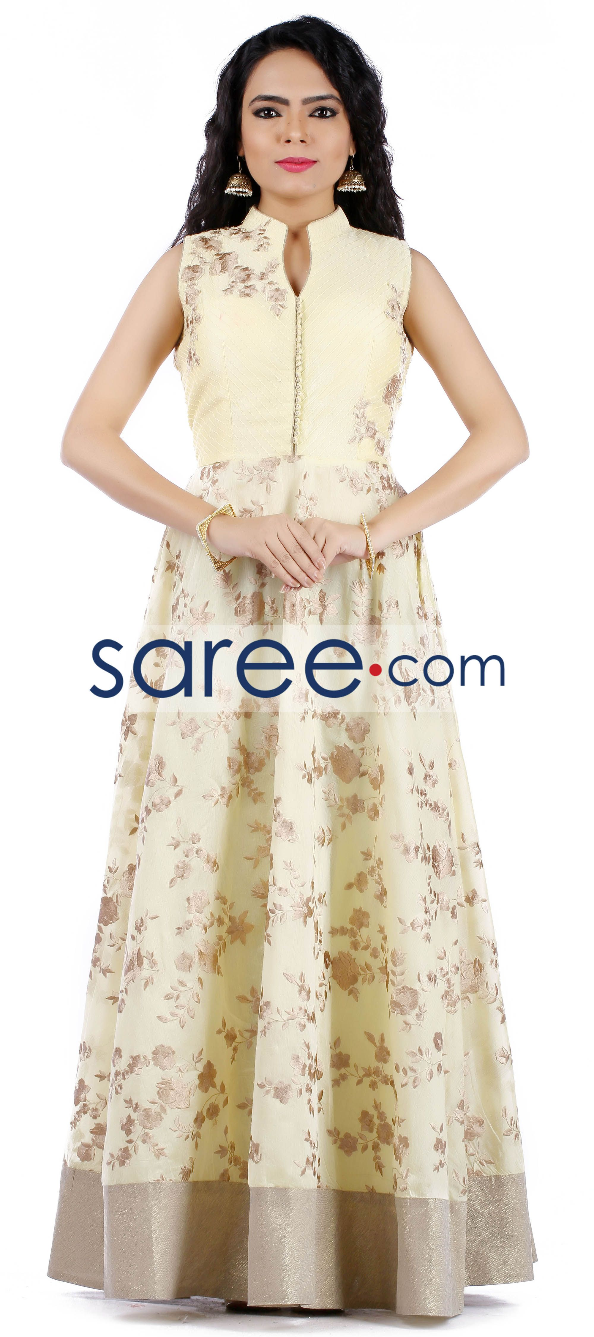 Yellow cotton anarkali suit with embroidery work cotton anarkali