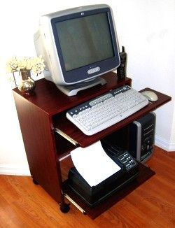 S2326 23 Wide Compact Computer Desk With Keyboard Shelf Sliding Printer And Mouse Tray