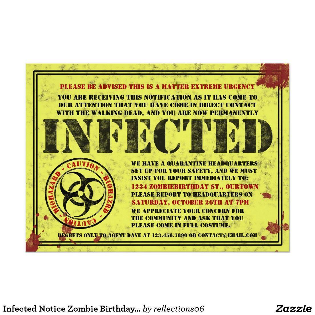 Infected notice zombie birthday party invitations halloween party infected notice zombie birthday party invitations stopboris Gallery