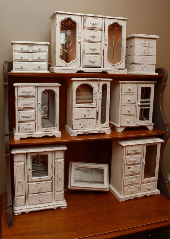 Shabby Chic Upcycled Distressed Jewelry Armoire 40 Jewelry