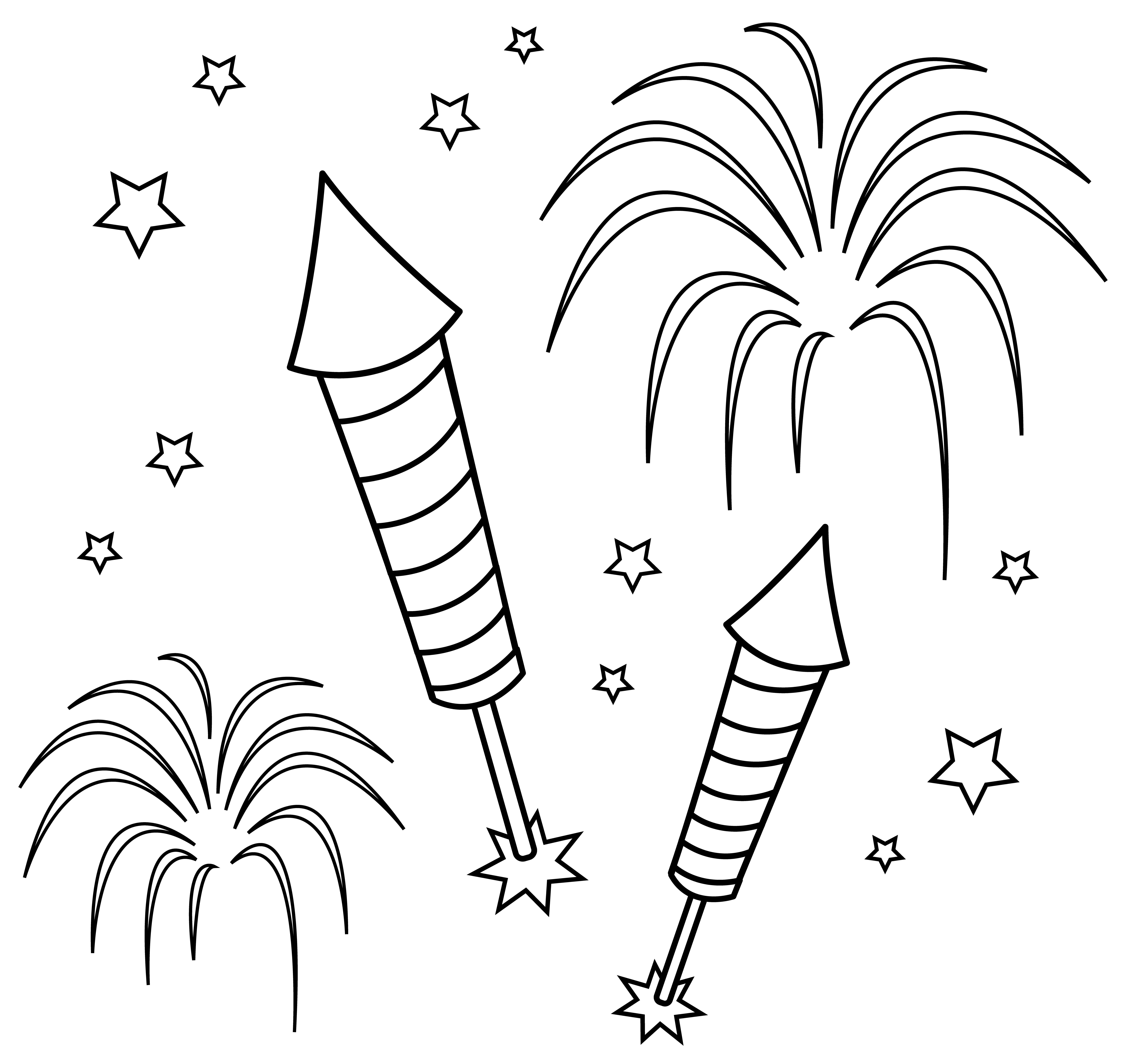 Fireworks Colorable 0 Png 7 341 6 939 Pixels How To Draw Fireworks Fireworks Pictures Coloring Pages For Kids