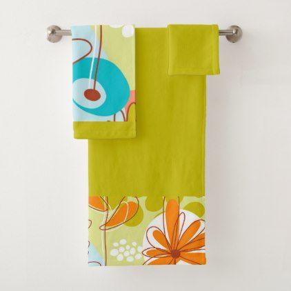 retro flowers white blue salmon orange yellow bath towel set