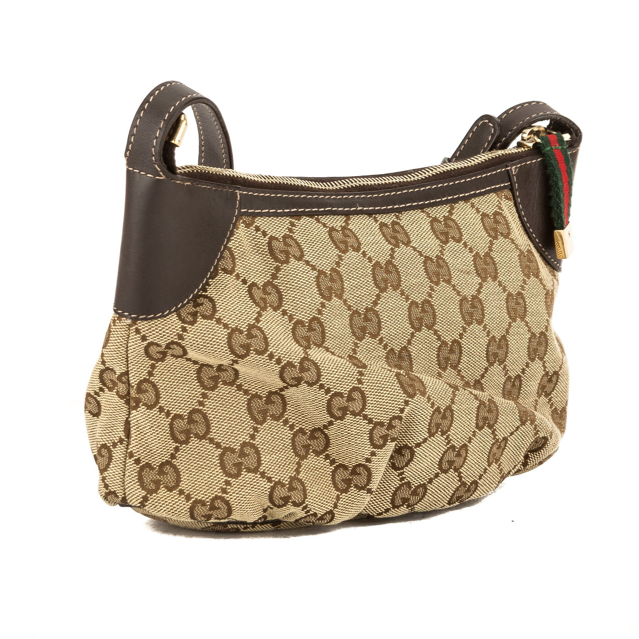 05dc3bb01530 Gucci Brown Leather GG Monogram Canvas Guccisima Pochette Bag (3814009)