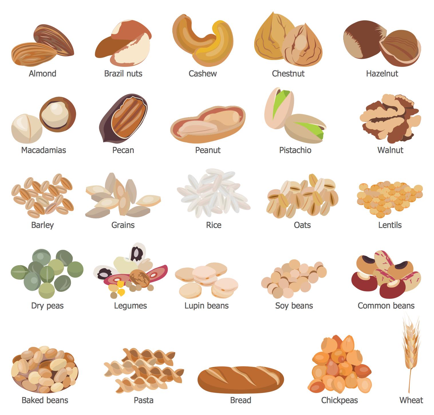 Design Elements Grains Beans Legumes Nuts