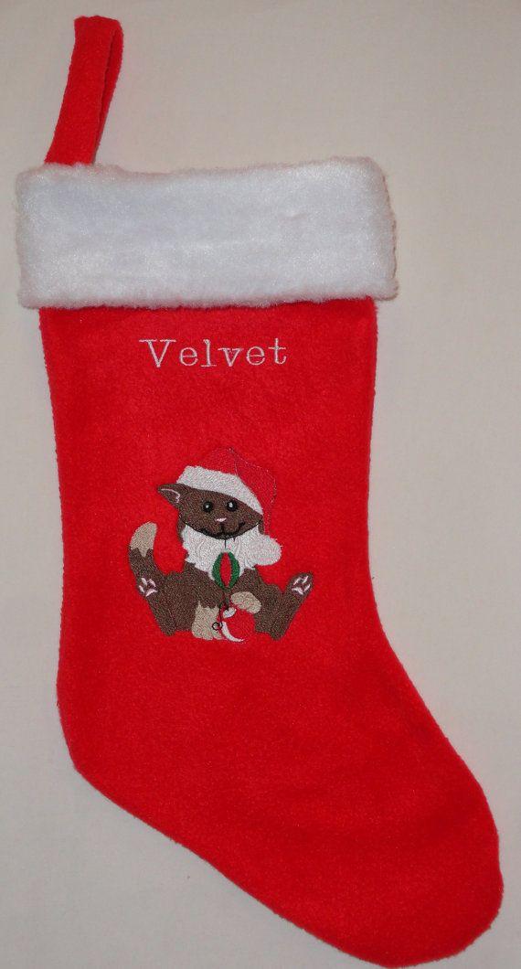 Personalized Santa Cat Christmas Stocking by SEWNLOVEBYCAROL, $2295