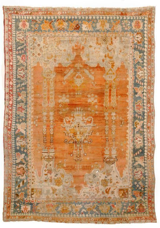 Antique Oushak Rugs Turkish Number 13321 Woven Accents