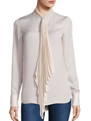 28b31d0af5cc91 THEORY Bellana Pleated Tie-Neck Blouse.  theory  cloth  blouse ...