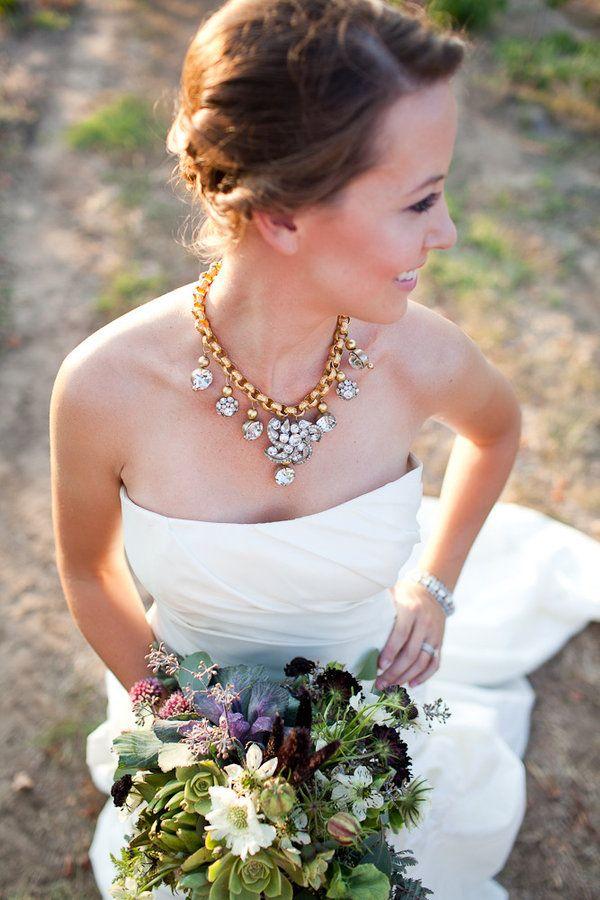 wedding dress bride gold statement necklace