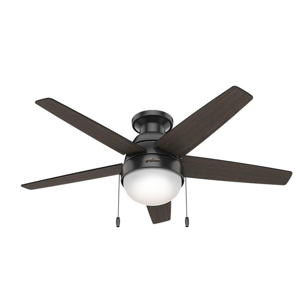 Hunter Parmer 46 In Led Indoor Matte Black Flush Mount Ceiling Fan With Light Kit 59588 Ceiling Fan Ceiling Fan With Light Flush Mount Ceiling Fan