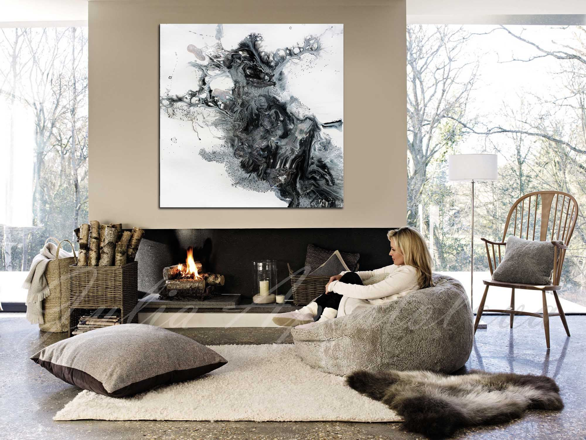 45x45 Black And White Watercolour Painting Etsy Winter Living Room Cozy Living Room Design Cozy Living Rooms