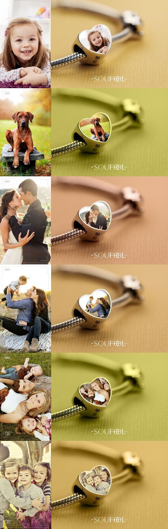 Just select a charm, upload a photo and make that photo a long-lasting piece of jewelry you can wear for years to come. Whatever the photo is about, your wedding/your dog/your baby/your family or the words you like, you can make any picture you like into the charm. Soufeel jewelry, for every memorable day!: