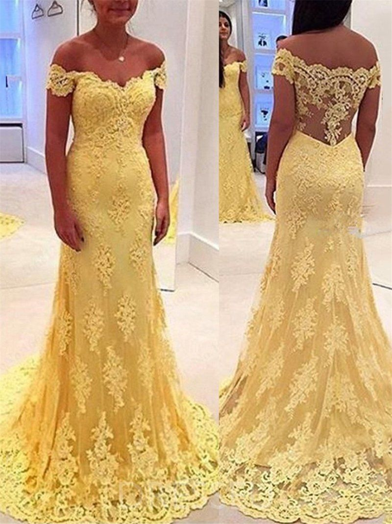 9ea897ba1ed7 Off-The-Shoulder Trumpet/Mermaid Long Yellow Evening Dress in 2019 ...