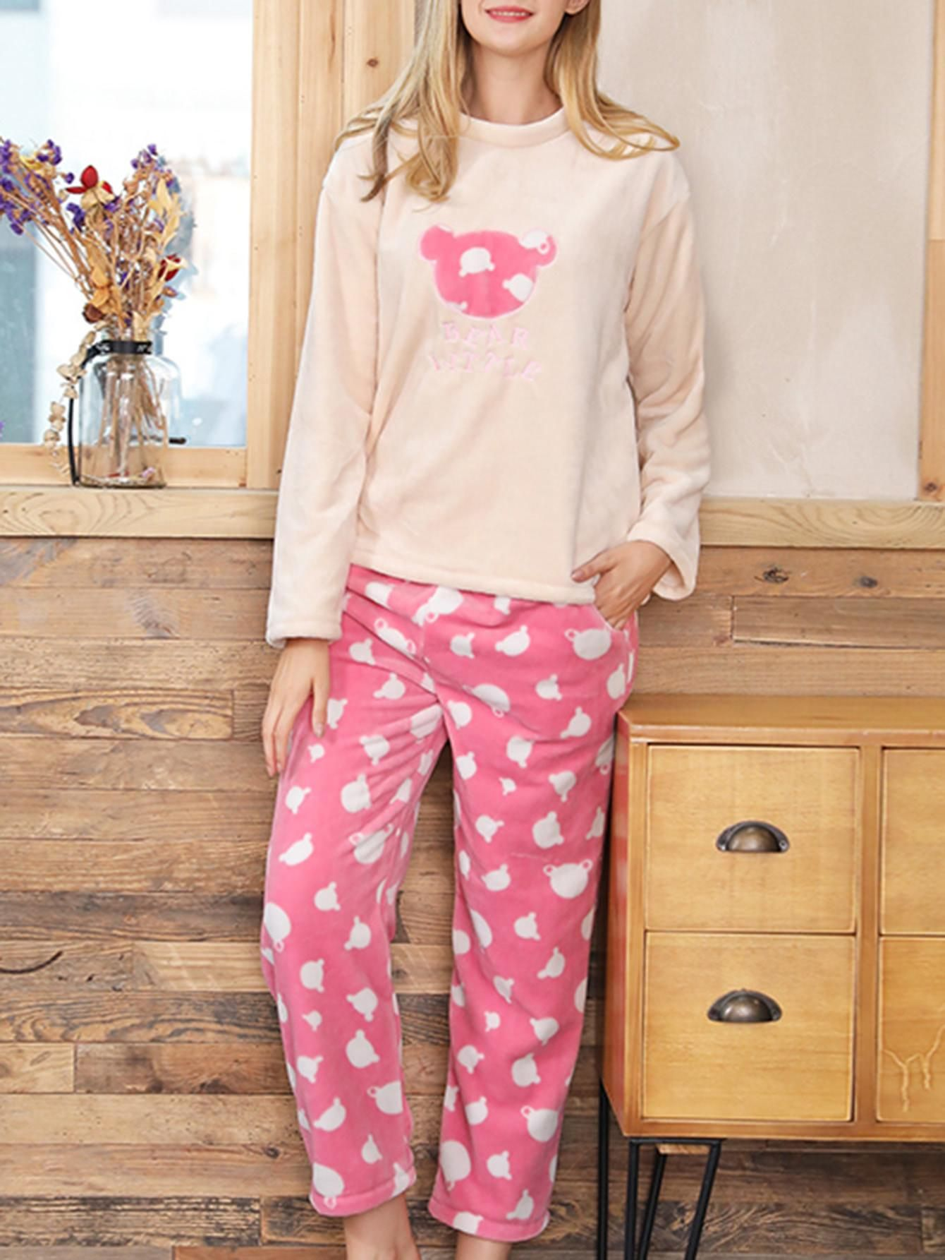 079d383215 #Valentines #AdoreWe #SheIn - #SheIn Bear Embroidered Plush Top & Pants Pj