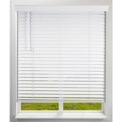 Arlo Blinds White Cordless Room Darkening Faux Wood Blinds 2 In